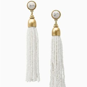 Stella & Dot White Gita Tassel Earrings